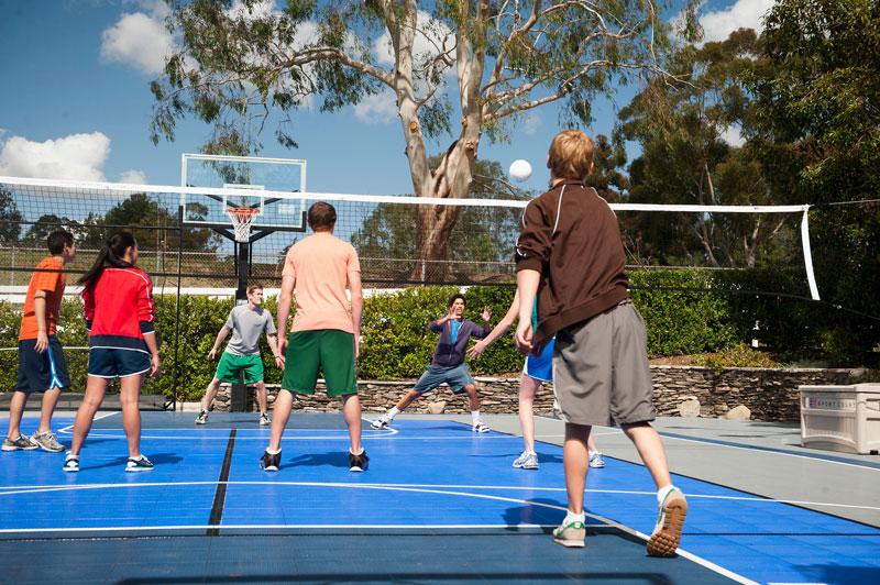 volleyball in backyard